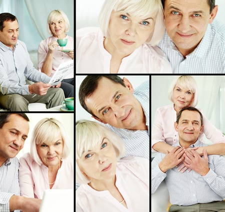 Happy senior couple spending time at home Stock Photo - 12328685