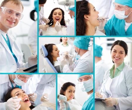 odontologia: Colegio de M�dicos compone de fotos sobre un tema de la odontolog�a Foto de archivo