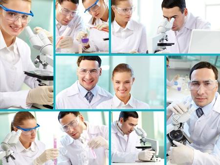 laboratorio clinico: Fotos de los científicos dedicados compuestas en un collage Foto de archivo