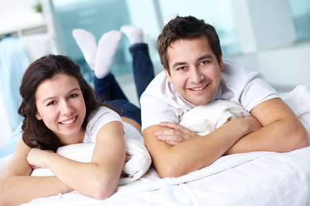 husband and wife: Tilt up shot of happy couple spending time together at home Stock Photo