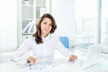 Portrait of a young business lady looking at camera with a smile Stock Photo - 12380987