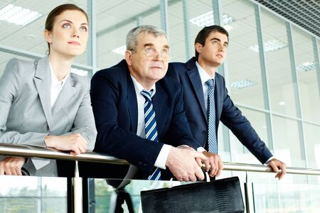 three generation: Business team looking confidently in future Stock Photo