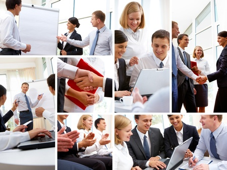 교육, 프리젠 테이션, 협상 및 팀워크와 연결된 다양한 상황에서 사업 사람들