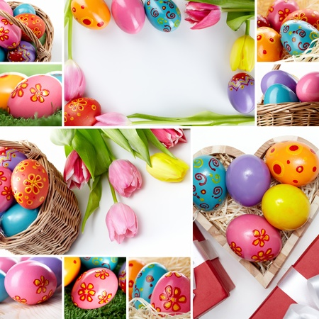 Eggs colored for Easter with spring flowers and decorations photo