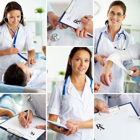 personal medico: Collage de personal m�dico que trabaja en el interior, el examen del paciente y llenar los espacios en blanco