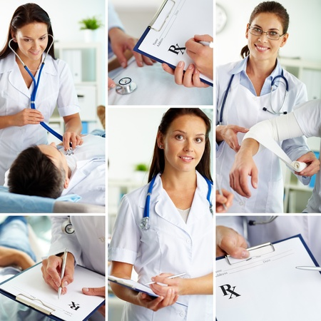 checkup: Collage of medical staff working indoors, examining patient and filling the blanks Stock Photo