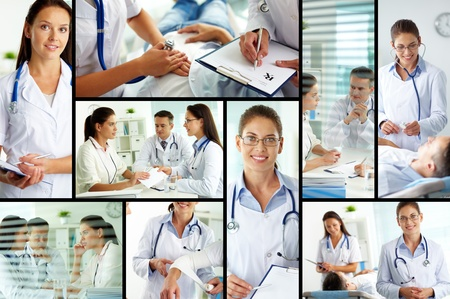 Collage of medical staff working with patient, filling the blanks and carrying out examination photo