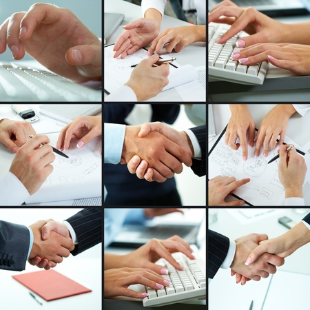 Hands typing, shaking, pointing, showing in different business situations photo