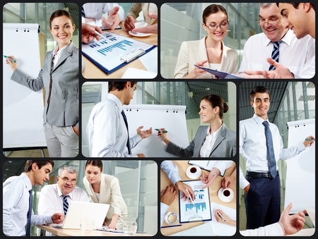 Collage of business partners at work photo