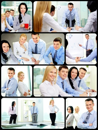 Collage of young confident business partners in office photo