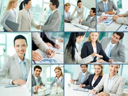 Collage of businesspeople working in office Stock Photo - 12872884
