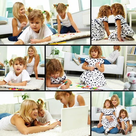 Collage of happy twin girls and their mother spending time at home photo