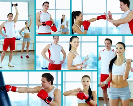 gymnasium: Collage of young people doing physical exercises and practicing boxing Stock Photo