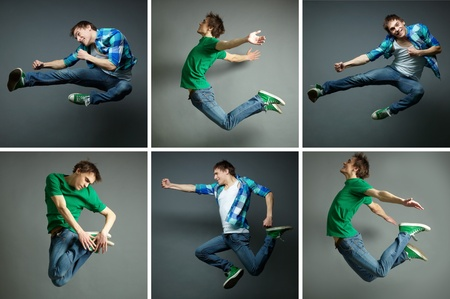 acrobatic: Collage of skilled guy jumping high in various poses