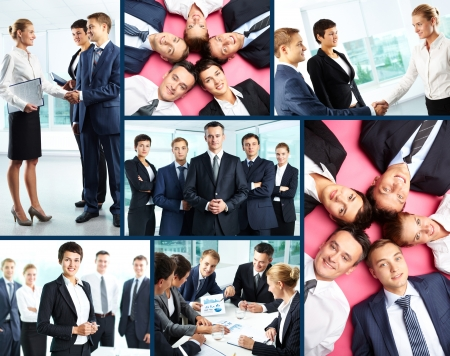 Collage of business people interacting at meeting and posing in front of camera photo