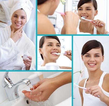 higiene bucal: Collage de chica alegre cuidar de sí misma
