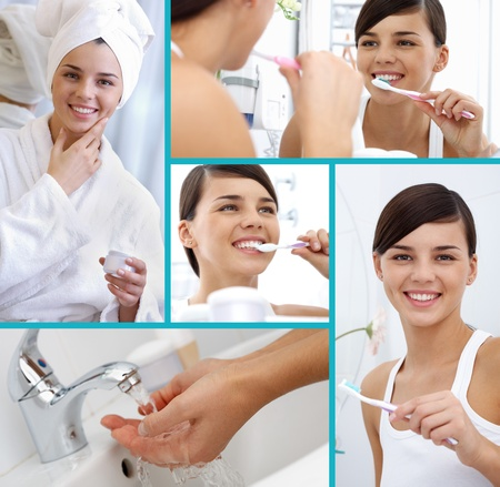 Collage of cheerful girl taking care of herself photo