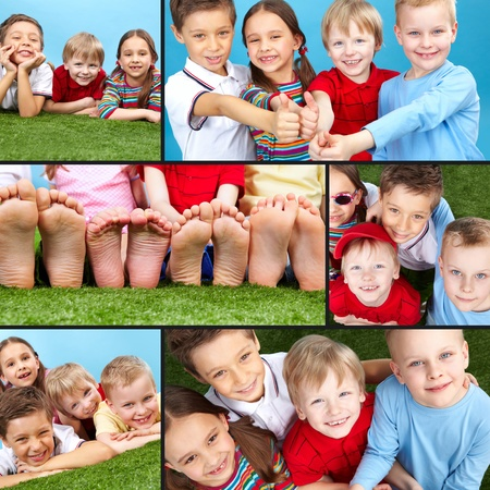 schoolchild: Collage of four restful kids looking at camera