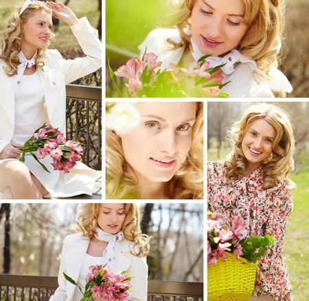 Collage of a young cheerful woman with flowers Stock Photo - 12872891