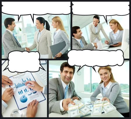 Collage of businesspeople interacting in office with speech bubbles above their heads photo