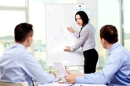 Confident business lady carrying out presentation of a business plan Stock Photo - 12873115