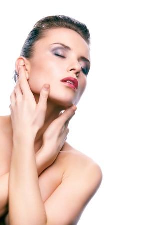 Seductive woman touching her neck Stock Photo - 13036113