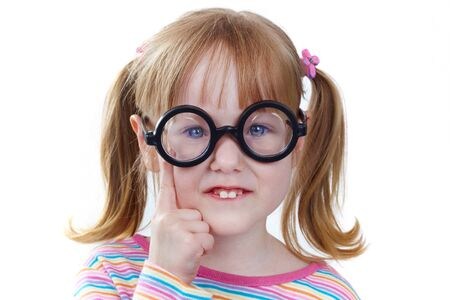 funny glasses: Portrait of a girl in funny glasses looking at camera