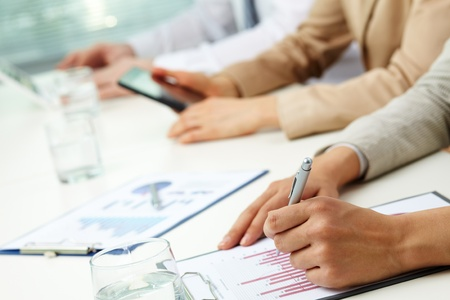 Close-up of clipboards with business graphs and diagrams attached to them Stock Photo - 13037750