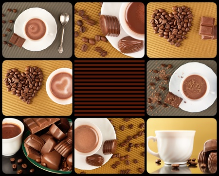 Collage composed of photos of chocolate sweets, coffee beans and hot cocoa in a cup photo