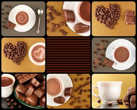 cafe bombon: Collage compuesto por fotos de dulces de chocolate, granos de café y chocolate caliente en una taza