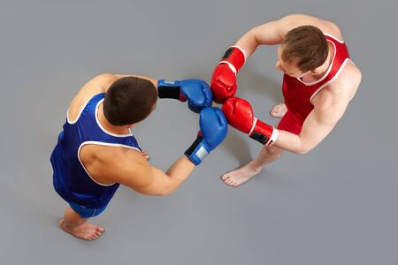 duel: Two boxers greeting each other before the fight Stock Photo