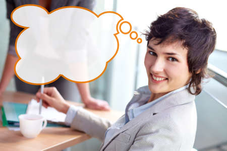 business for the middle: Business woman in the middle of the meeting, speech bubble with empty space provided for ad or announcement