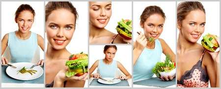 Collage of pretty young girl with vegetable salad, burger and pea starter photo