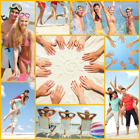 Collage of four friends having summer vacation photo