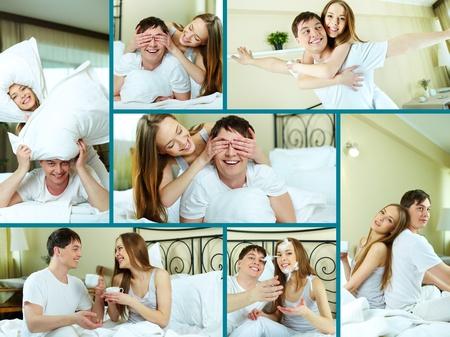enamorados en la cama: Feliz pareja joven sentada en la cama
