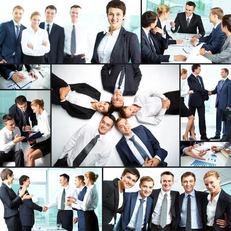 aplaudiendo: Collage de socios de negocios en el trabajo Foto de archivo