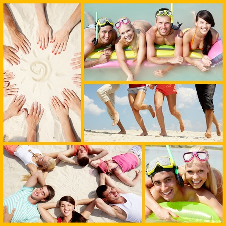 union beach: Collage of happy friends enjoying summer vacation Stock Photo