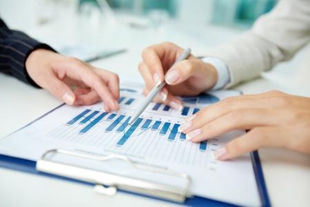 Close-up shot of business graphs indicating corporate progress Stock Photo - 13341843