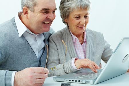 Cheerful senior couple using a laptop photo