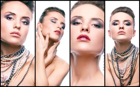 bead jewelry: Collage of gorgeous woman with pearl beads looking at camera Stock Photo