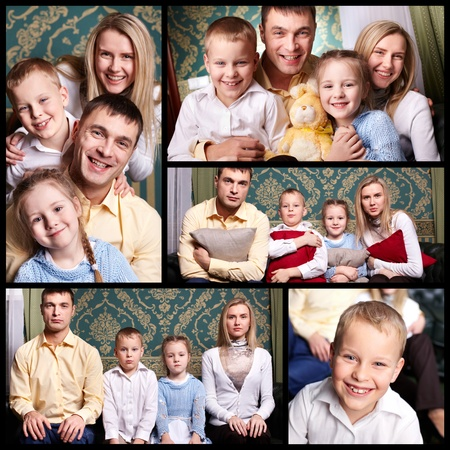 Collage of cheerful family looking at camera photo
