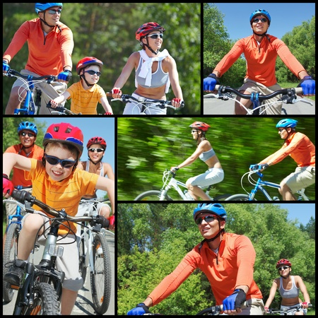 Collage of happy family riding on bicycles at leisure photo