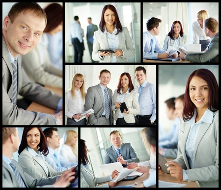 Collage of confident business people in different situations photo