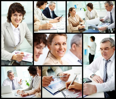 Collage of mature businessman and females at work photo