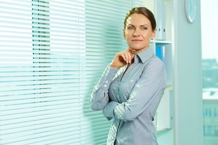 Smiling business woman in office Stock Photo - 13475987