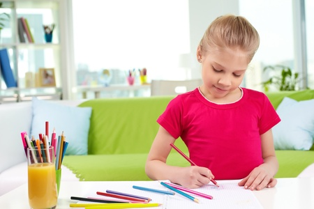 Portrait of lovely girl drawing with colorful pencils Stock Photo - 13589824
