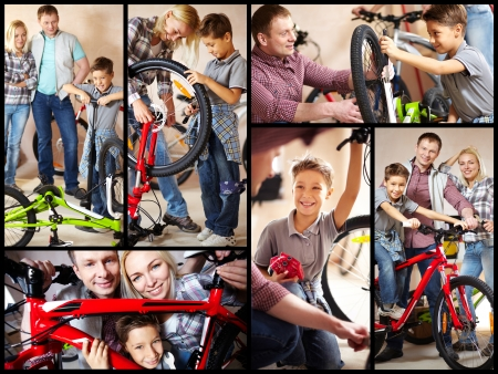 Collage of image of happy family in garage photo