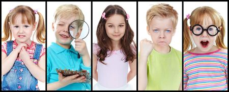 Collection of images of cute kids, boy and two girls Stock Photo - 13631099