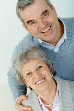 Above view of attractive aged woman and man looking at camera  Stock Photo - 13631094
