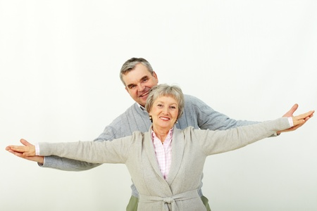 stretched: Portrait of attractive middle woman and man looking at camera  Stock Photo